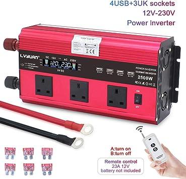 stromwandler f/ür Auto Camping drahtlose Fernbedienung Cantonape 2500W//5000w Wechselrichter Spannungswandler 12V 230V Power Inverter mit 3 UK Steckdoses 4 USB und LCD-Display Boot