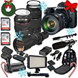 Canon EOS 6D 20.2 MP Full Frame CMOS Digital SLR DSLR Camera w/ EF 24-105mm f/4 L IS USM Lens + EF 75-300mm f/4-5.6 III Telephoto + 500mm f/8 Preset Lens + Holiday Accessory Bundle