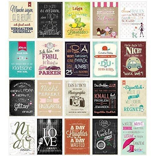 20 Spruchkarten, Retro Postkarten mit lustigen Sprüchen, 20 verschiedene Sprüche, 14,8 x 10,5 cm