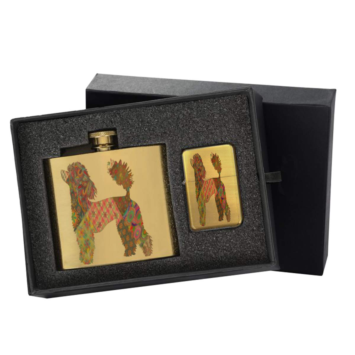 French Poodle Pattern - Gold Lighter and Pocket Hip Liquor Flask Survival Camping Gift Box Set
