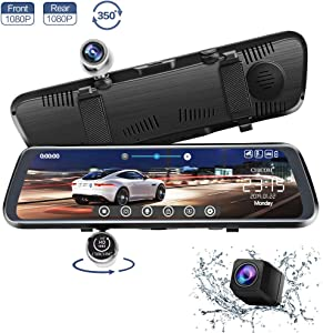 CHICOM 10 inch Mirror Dash Cam 350° Rotating Front and Waterproof Rear Camera Full Touch Screen Backup Camera 1080P HD Rear View Camera G-Sensor, Loop Recording, Time-Lapse Photography (V33)