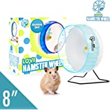 """Hamster Wheel 8"""" Pet Comfort Exercise Wheel Large and Easy Attach to Wire Cage for Hamsters Gerbils Chinchillas Hedgehogs Mice and Other Small Animals - Premium PP Material Blue"""