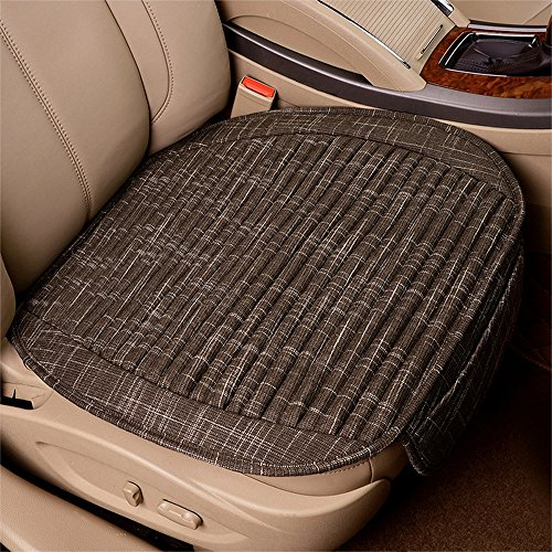 Dotesy Breathable Linen Car Seat Cushion Mat, Buckwheat Hulls Lavender Seat Cover Pad Comfortable Cool in Summer, Coffee