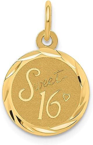 14k Sweet Sixteen Disc Charm