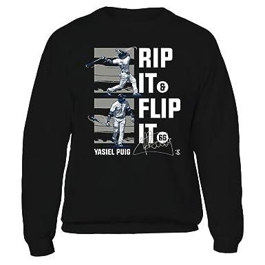 Yasiel Puig Rip It Flip It Black Crewneck Sweatshirt - Official Sports  Apparel 06c7203f8e4