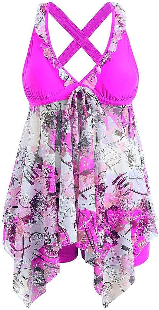 5XL Boemo Tankini Donna con Scollato Stampa Bikini Mare Vita Alta Interi Bikini Set Push Up Spiaggia Mare DEELIN Costume da Bagno Donna Taglie Forti
