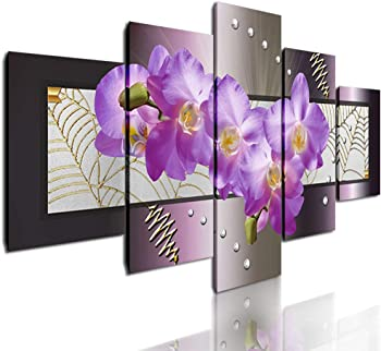 DVQ ART Abstract Canvas Wall Art Painting Modern Pink Flower Stretched