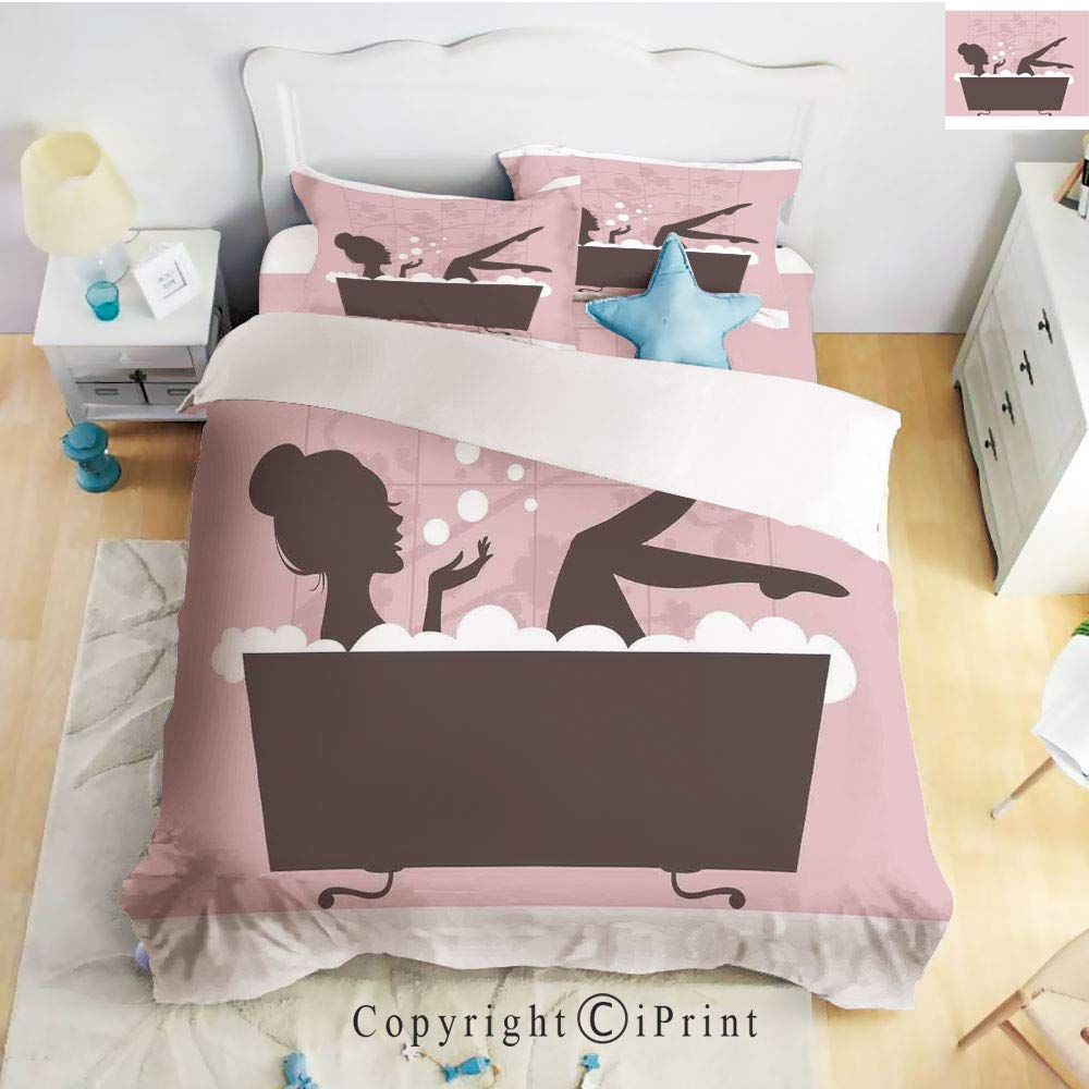 Hight Quality 4 Piece Bed Sheet Set,Beautiful Woman in Bath Tub Spa Treatment Relaxing Concept Vintage Style,Pink Dark Grey,King Size