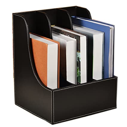 Arc Angle Leather Magazine Holder Office Desk Organizer File Document Tray  Box Bookends Book Stand (