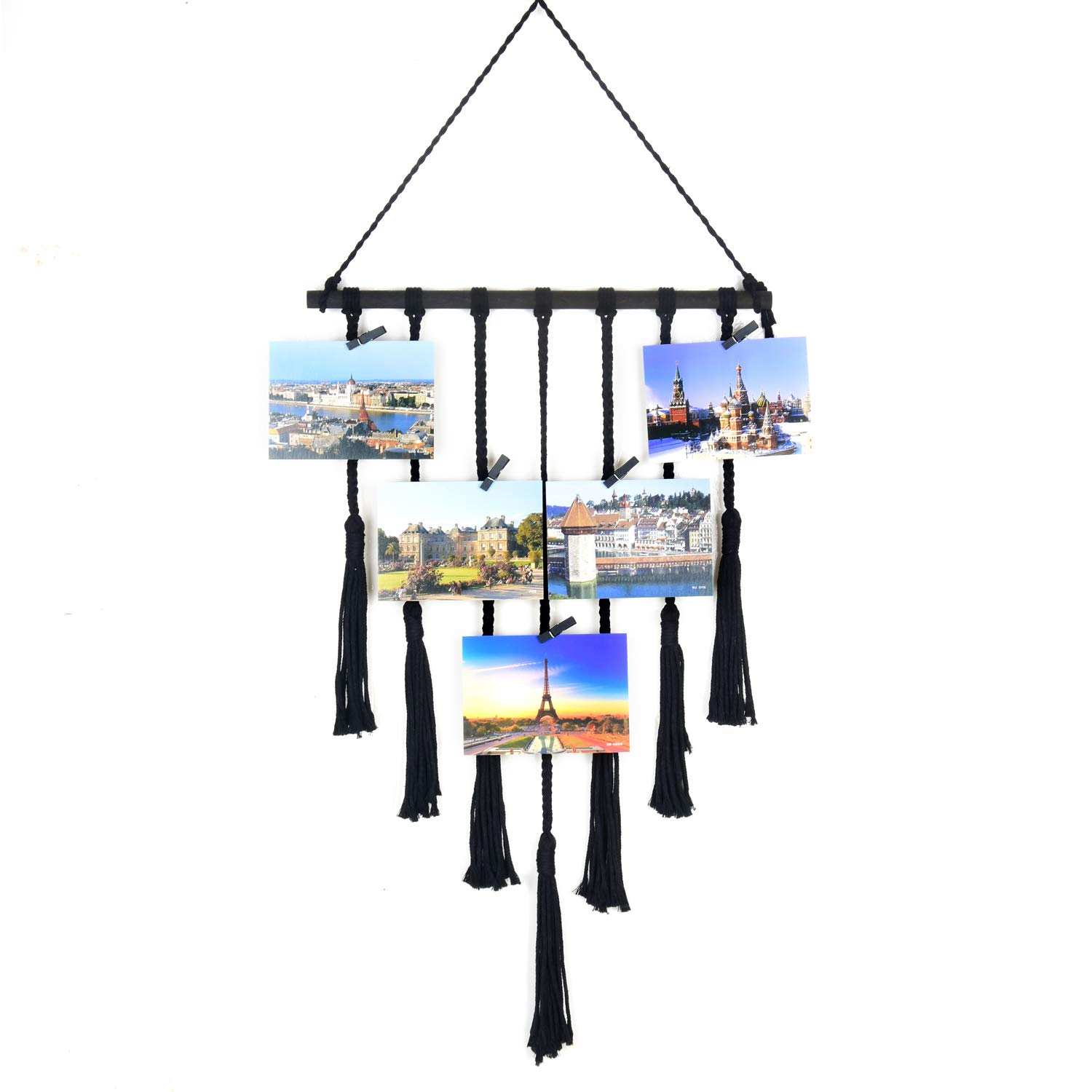Seamersey Photo Hanging Display Frames Macrame Wall Hanging Pictures Organizer Home and Wall Decor with 25 Wood Clips(Black)