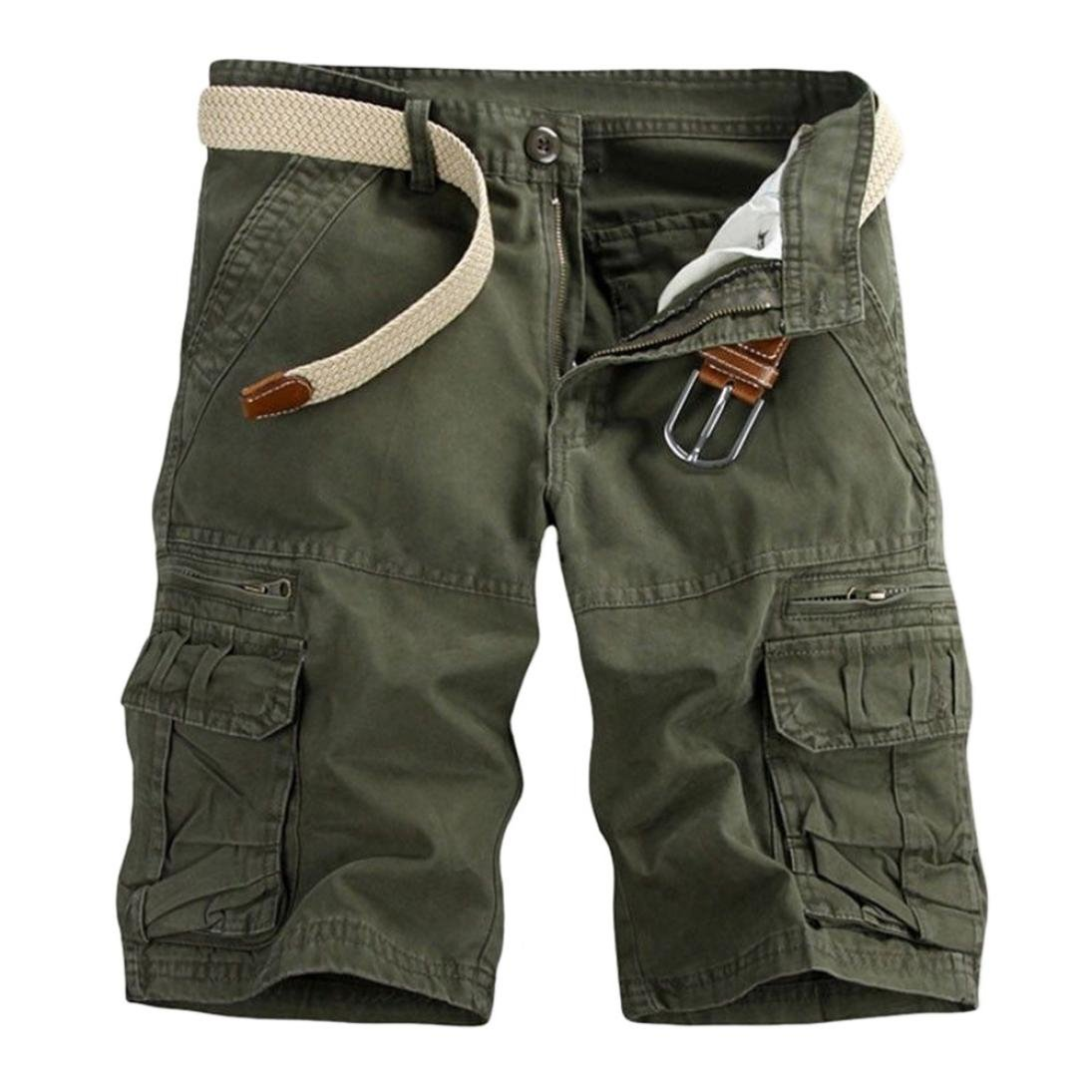 iZHH Men's Pure Color Outdoors Pocket Beach Work Trouser Cargo Shorts Pant(Army Green,33)