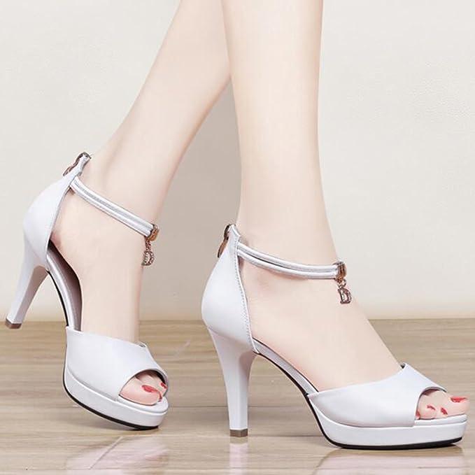 FEI Chanclas Zapatos de Mujer PU Summer Fall Comfort Correa Club Zapatos  Sandalias Zapatos para Caminar Tacón de Aguja Punta Abierta Antidérapant  (Color ... d28426a2c98f