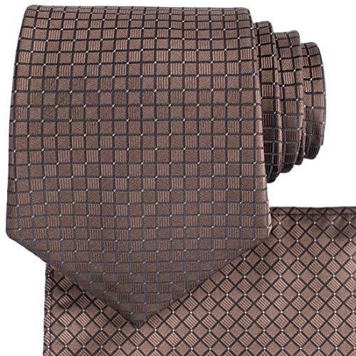 KissTies Brown Necktie And Pocket Square Checkers Tie Set + Gift - Box Checker
