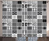 Grey Decor Curtains Mixed Checkered Squared Scotch Plaid Striped Scarf Patterns in Patchwork Style Image Living Room Bedroom Decor 2 Panel Set Black White Grey