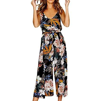 719af041d5c Amazon.com  Hemlock Women Wide Leg Pants Vest Tops Two Piece Office Jumpsuits  Floral Print Tops Long Trousers Playsuit (S