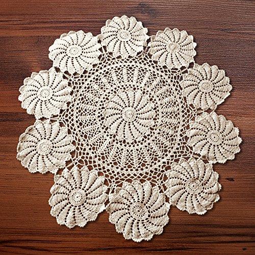 YIZUNNU Round Handmade Crochet Sunflower Lace Table Cloth Washable Cotton,beige,diameter 35 inch