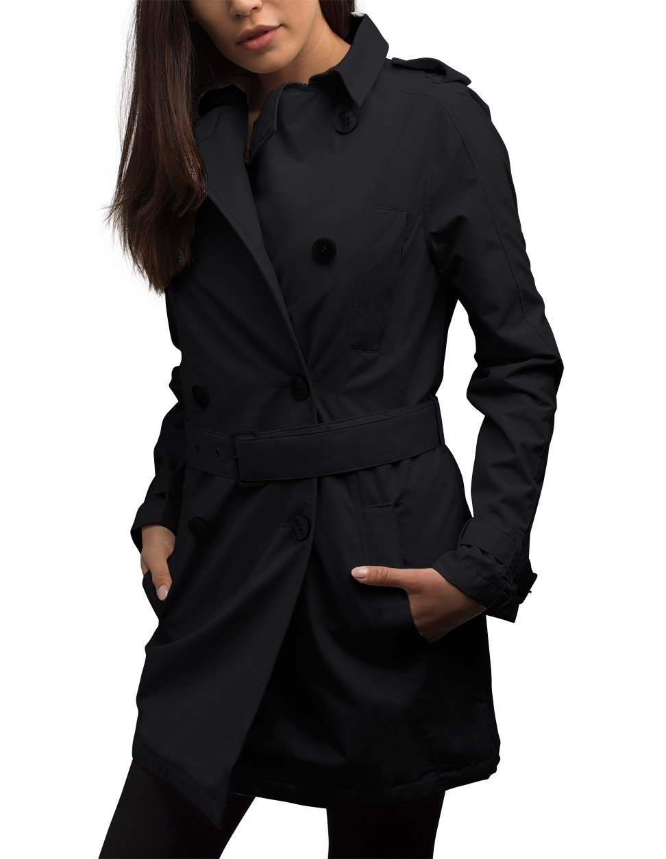 SCOTTeVEST Women's Trench Coat - 18 Pockets - Travel Clothing BLK S