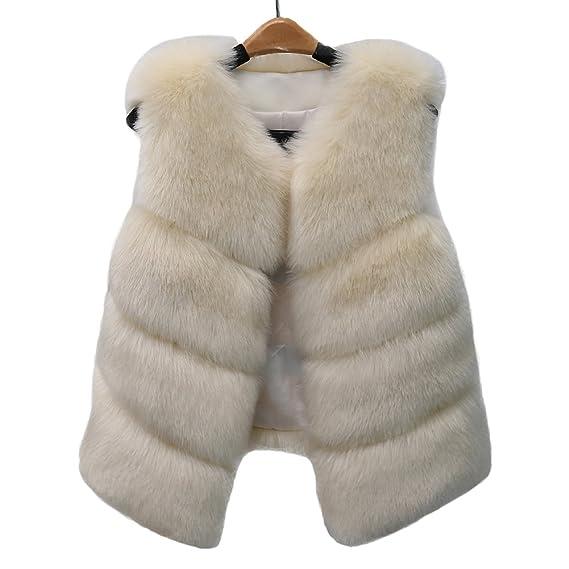 c0f37b9f6b18d Women Faux Fur Vest Waistcoat Winter Warm Sleeveless Outerwear Jacket Coat:  Amazon.co.uk: Clothing