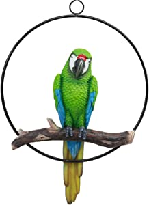 """Ebros Patio Home Garden Hanging Scarlet Macaw Parrot Perching on Branch in Metal Round Ring Figurine Sculpture Nature Lovers Tropical Bird Collectors Decor 13.5"""" H (Green)"""