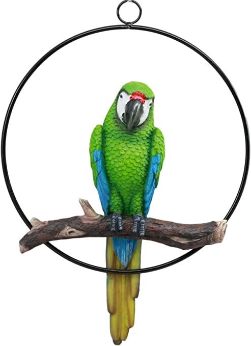 Red Parrot Macaw Bird Animal Statue Figurine Hanger