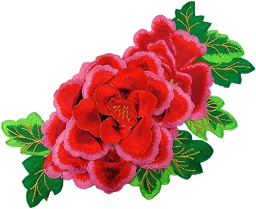 FLOWER RED OR PINK EMBROIDERED IRON ON PATCHES uk FREE DELIVERY