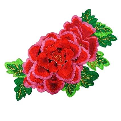 ximkee 3d Peony Rosa Flores bordado parches Sew hierro en Appliques. Pasa ...