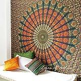 Eyes of India - Large Queen Green Elephant Indian Mandala Tapestry Bedspread Beach Blanket Dorm Bohemian Boho