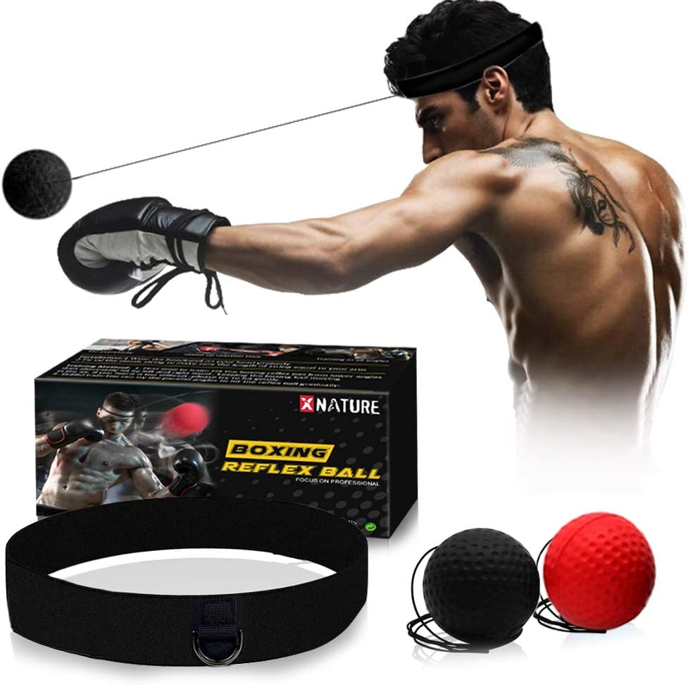Xnature Boxen Training Ball Reflex Fightball Speed Fitness Punch Boxing Ball mit Kopfband, Trainingsgerät Speedball für Boxtraining Zuhause und Outdoor 1