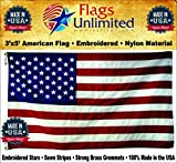 Cheap American Flag: 100% American Made – Embroidered Stars & Sewn Stripes – 3 x 5 ft From Flags Unlimited (3 by 5 Foot)