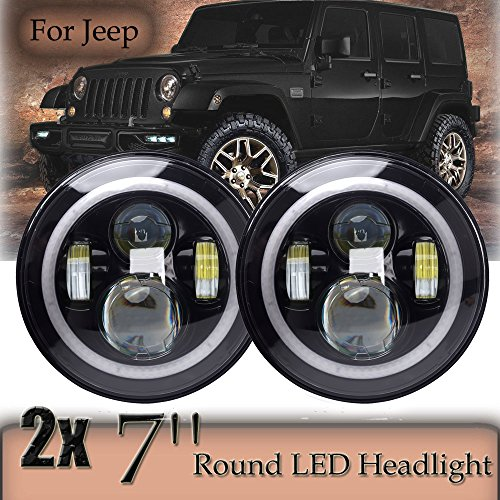 Green-L Pairs 7 Inch Round Headlight CREE LED 90W with Amber Signal Halo Angle Eyes H4 to H13 Adapter For Jeep Trucks Harley Davidsion (90 Green Lens)