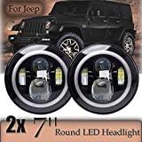 Green-L Jeep Wrangler LED Headlights Bulb with Halo Angel Eye Ring & DRL & Turn Signal Lights for For Jeep Trucks Harley Davidsion Motorcycle