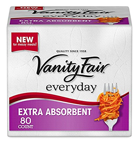 (Vanity Fair Everyday Extra Absorbent Premium Paper Napkin, 80 Count, Dinner Napkin for Messy Meals)