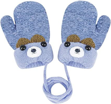 Women Girls Winter Warm Thicken Full Finger Gloves Cute Cartoon Fleece Lined Mittens with String