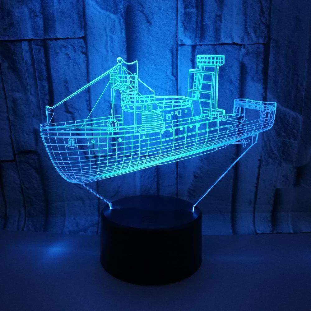BFMBCHDJ Navegación 3D Sea Ship Lámpara LED 7 colores Cambio de ...