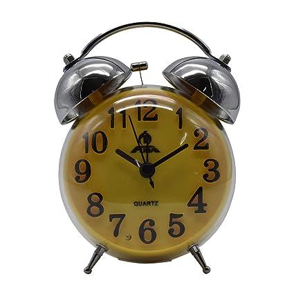 Twin Bell Alarm Clock, Round - Yellow