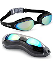 Aegend Swim Goggles, Swimming Goggles No Leaking Anti Fog UV Protection Triathlon Swim Goggles with Free Protection Case for Adult Men Women Youth Kids Child