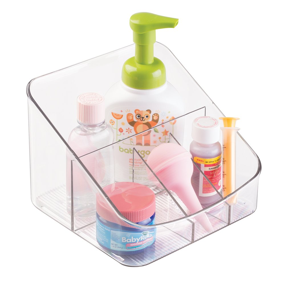 mDesign Baby Nursery Organizer for Nail Clippers, Thermometers, Nasal Aspirator - Clear