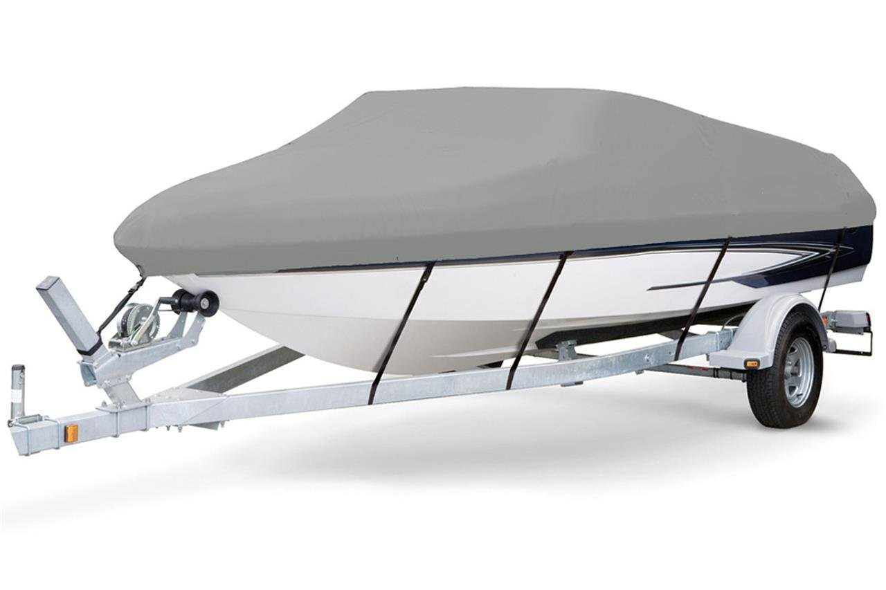 7 oz Solution Dyed Polyester Grey, Styled to FIT Boat Cover for Key Largo 168 Bay 2015-2016 by SBU-CV