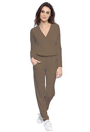 f4b403e865c5 Rendez Vous Paris Combinaison pantalon taille élastique en maille modal  PLUME  Amazon.fr  Vêtements et accessoires