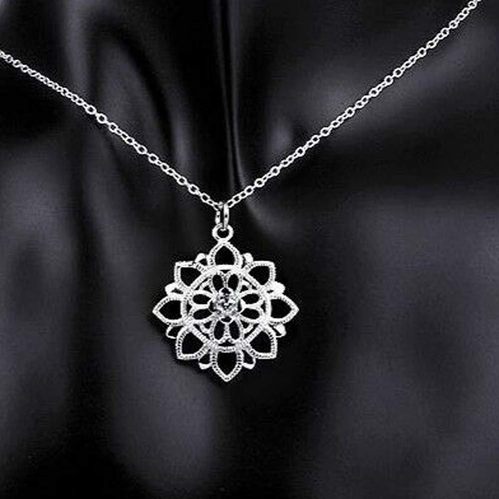 925 Sterling Silver 0.05 Ct Round Cut Simulated Diamond Flower Pendant With 18 Chain