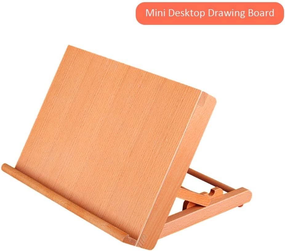 A4 Mini Tabletop Easel Folding Artist Drawing Board Adjustable Drafting Table Sketch Easel Art Easel for Painting Beech Wood for Children Painting Enthusiasts