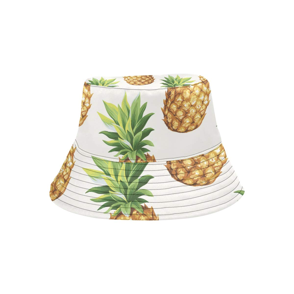 Golden Yellow Summer Cool Pineapple Oxeye New Summer Unisex Cotton Fashion Fishing Sun Bucket Hats for Kid Teens Women and Men with Customize Top Packable Fisherman Cap for Outdoor Travel