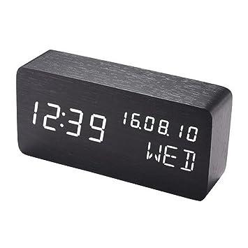 Acmede De Madera De Viaje Digital Cubo Led Despertador Reloj Despertador Con 3 Brillo Ajustable,3 Conjunto De Alarma,Doble Potencia,Control DeVoz ...