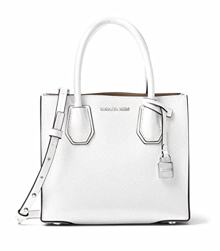 1bafa21ba6a7 Amazon.com: Michael Kors Studio Mercer Leather Crossbody Messenger in Optic  White: Shoes