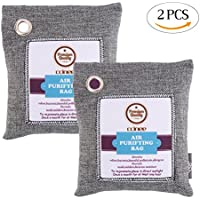 DECORA Bamboo Charcoal Air Purifying Bag Deodorizer Bags Odor Absorber Eliminator for Home Closets Shoes Pets and Cars 200G X 2