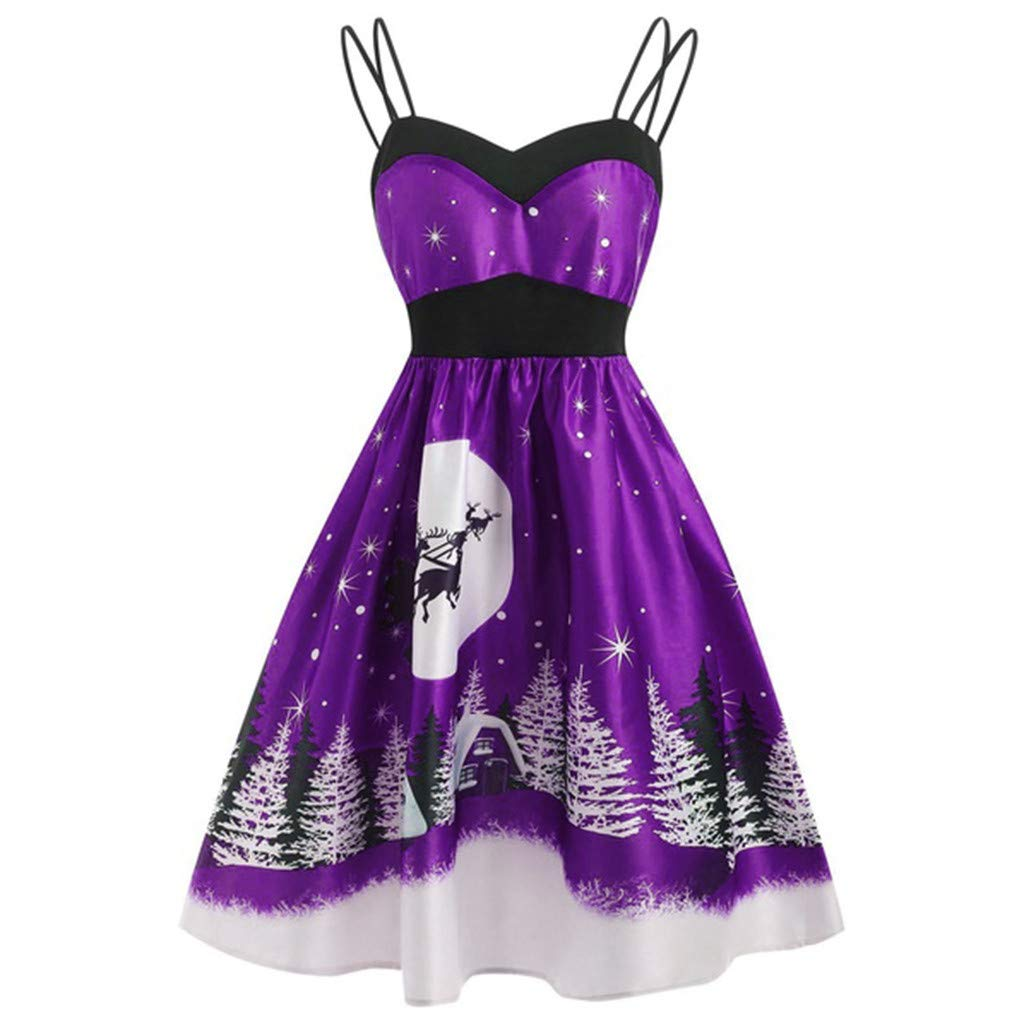 Women Half Sleeve Christmas Dress, Women Ladies Fashion Vintage Christmas Sleeveless V Neck Printed Cami DressChristmas Dresses Purple by RINKOUa