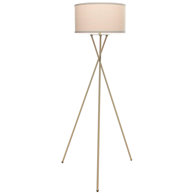 Brightech Jaxon Tripod LED Floor Lamp – Mid Century Modern Living Room Standing Light – Tall Contemporary Drum Shade Uplight and Downlight for Bedroom or Office – Brass/Gold
