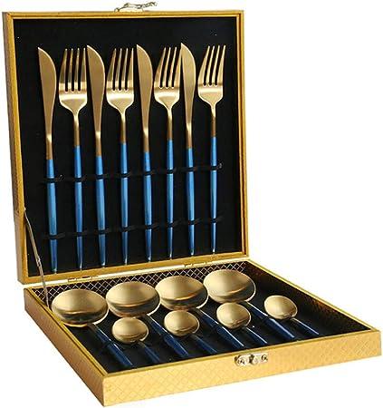Set 16 Piezas Cubiertos,Caja de Madera Craft Boxed Family Set Table Knife Fork and Spoon Gift Uso Multipropósito para el Hogar, Hotel y Bodas-Coral Blue Gold: Amazon.es: Hogar