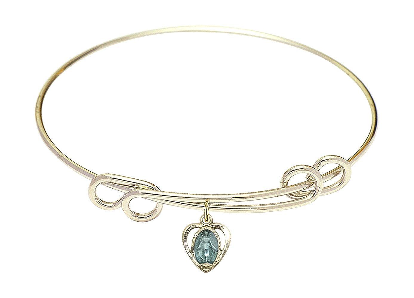 DiamondJewelryNY Double Loop Bangle Bracelet with a Miraculous Heart Charm.