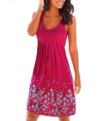 Yidarton Women Summer Dresses Casual Light Sleeveless Print Pleated Sundress A-line Mini Beach Dress